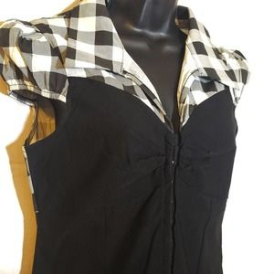 Rue21 Corset-style Blouse Black and White Gingham